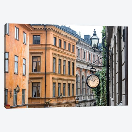 Located in the City portion of Stockholm, these buildings were shot from a staircase. Canvas Print #OTW3} by Mallorie Ostrowitz Art Print