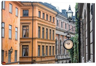 Located in the City portion of Stockholm, these buildings were shot from a staircase. Canvas Art Print
