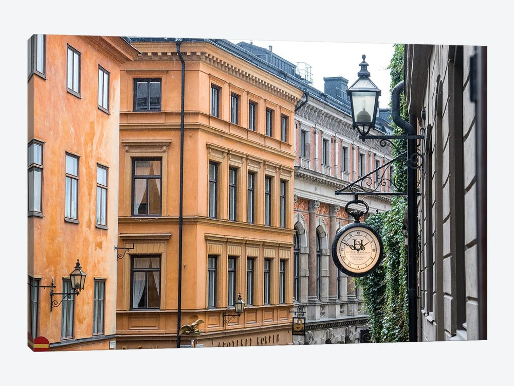 Located in the City portion of Stockholm, these buildings were shot from a staircase. by Mallorie Ostrowitz 1-piece Canvas Wall Art