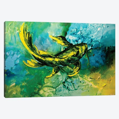 Yellow Koi Fish Canvas Print #OTZ100} by Osnat Tzadok Canvas Art