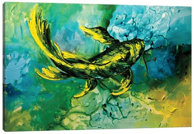 Yellow Koi Fish Canvas Art Print