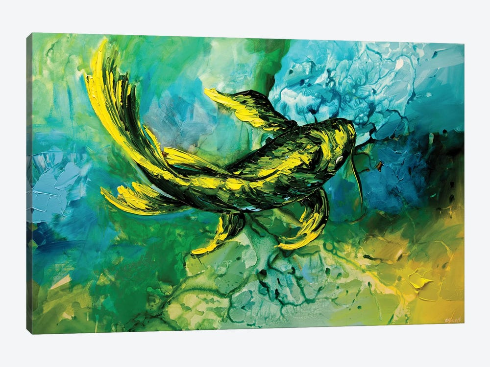 Yellow Koi Fish by Osnat Tzadok 1-piece Canvas Print
