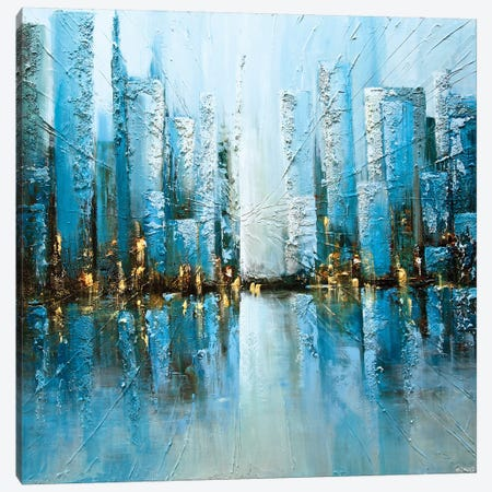 Blue Rise 3-Piece Canvas #OTZ13} by Osnat Tzadok Canvas Print