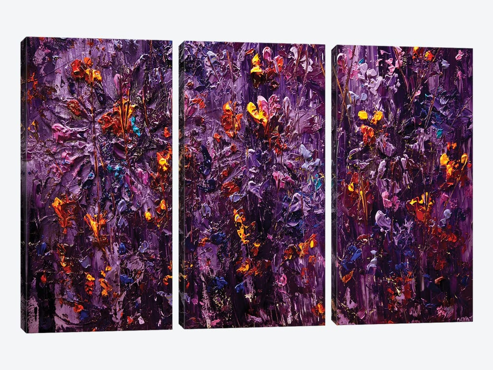 Purple Scent II by Osnat Tzadok 3-piece Canvas Art Print