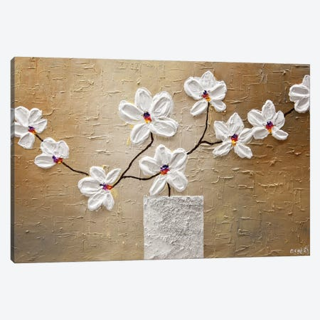 White Orchid Canvas Print #OTZ96} by Osnat Tzadok Canvas Artwork