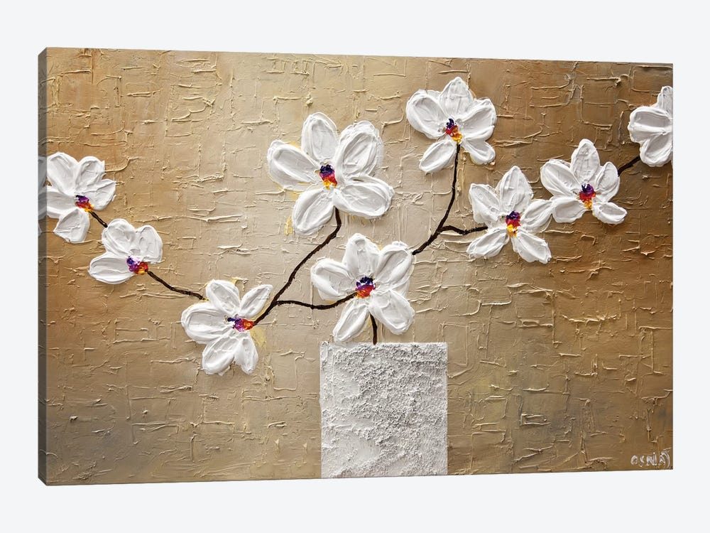 White Orchid by Osnat Tzadok 1-piece Canvas Art