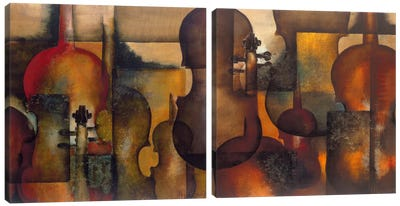 Ode To Music Diptych Canvas Art Print