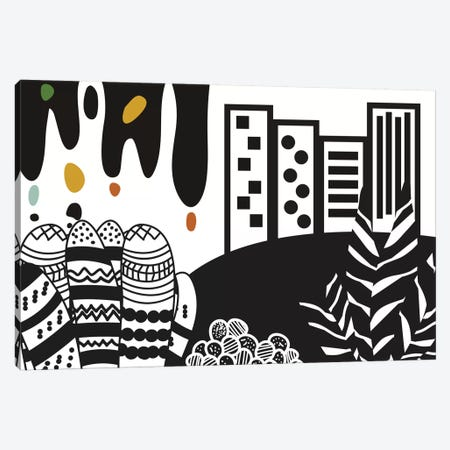 Black City 3-Piece Canvas #OWL12} by Flatowl Canvas Print