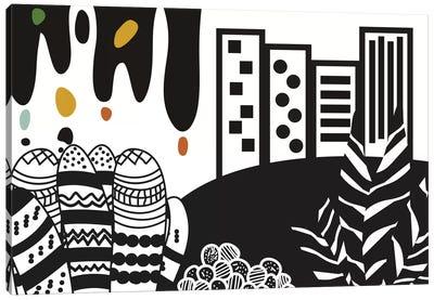 Black City Canvas Art Print