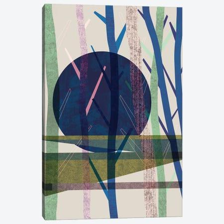 Blue Moon Canvas Print #OWL130} by Flatowl Canvas Wall Art