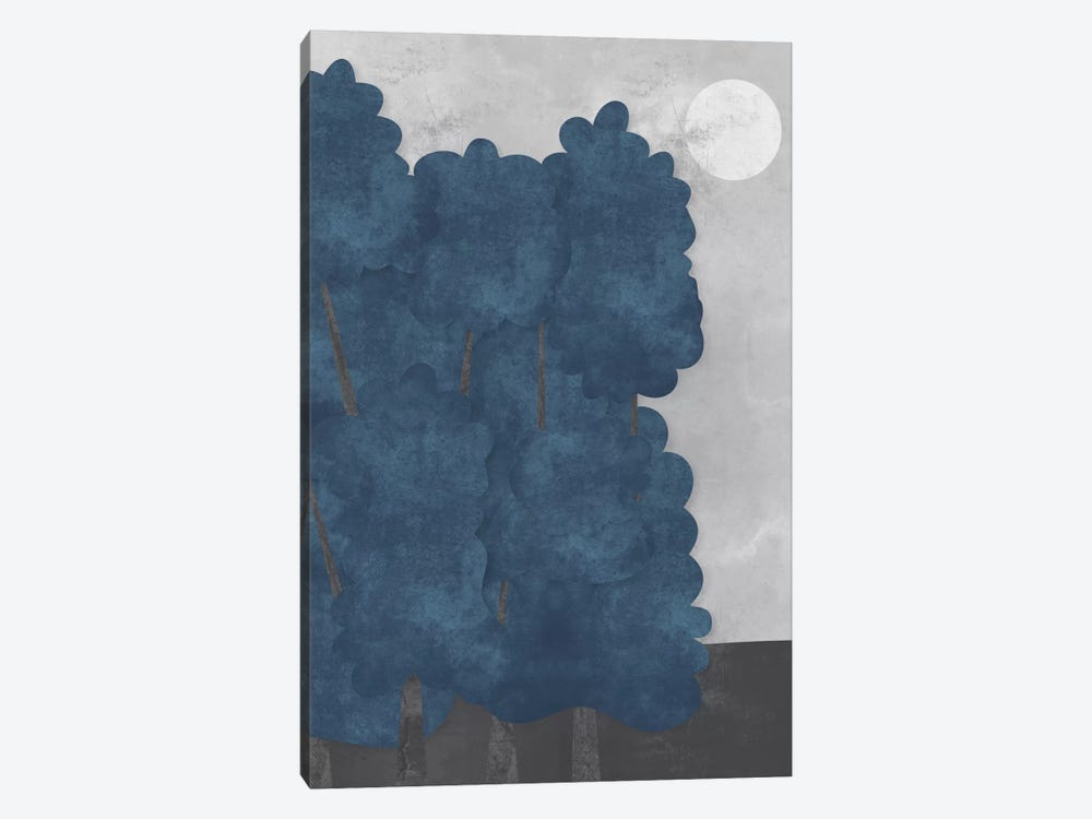 Blue Trees by Flatowl 1-piece Canvas Artwork