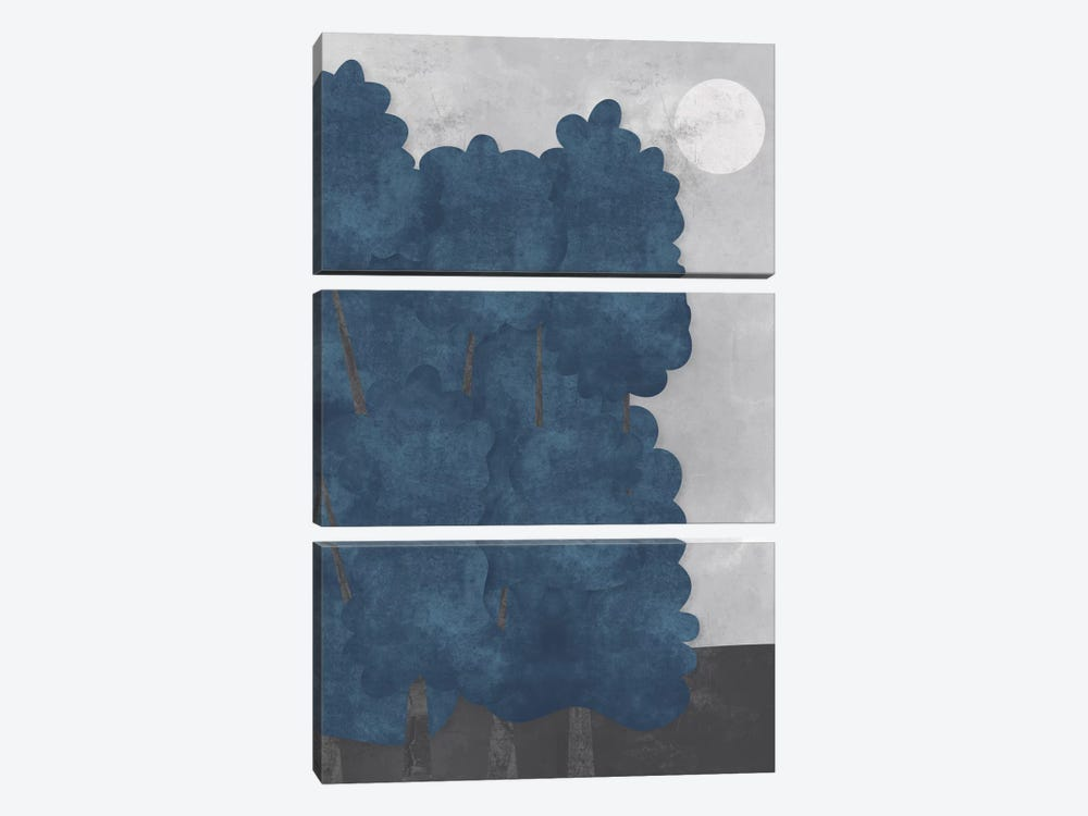 Blue Trees by Flatowl 3-piece Canvas Wall Art