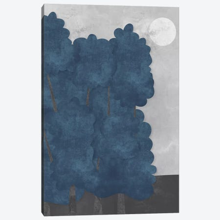 Blue Trees Canvas Print #OWL13} by Flatowl Canvas Art Print
