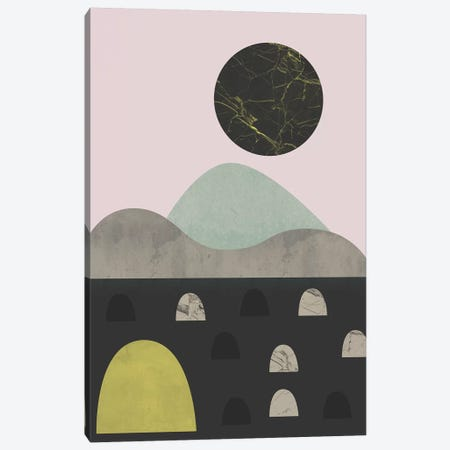 Stones And Moon Canvas Print #OWL140} by Flatowl Canvas Art Print