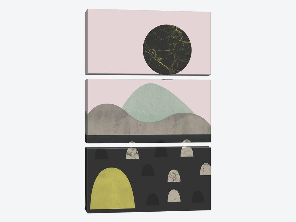 Stones And Moon by Flatowl 3-piece Art Print