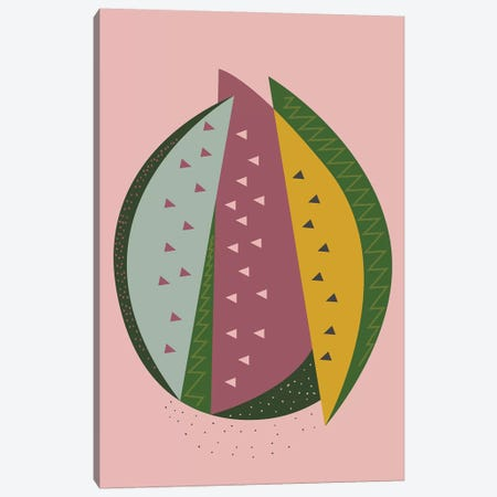 Watermelon Canvas Print #OWL145} by Flatowl Canvas Artwork