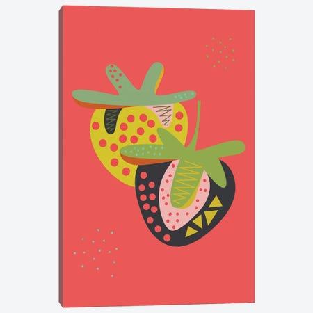 Strawberries Canvas Print #OWL156} by Flatowl Canvas Art Print
