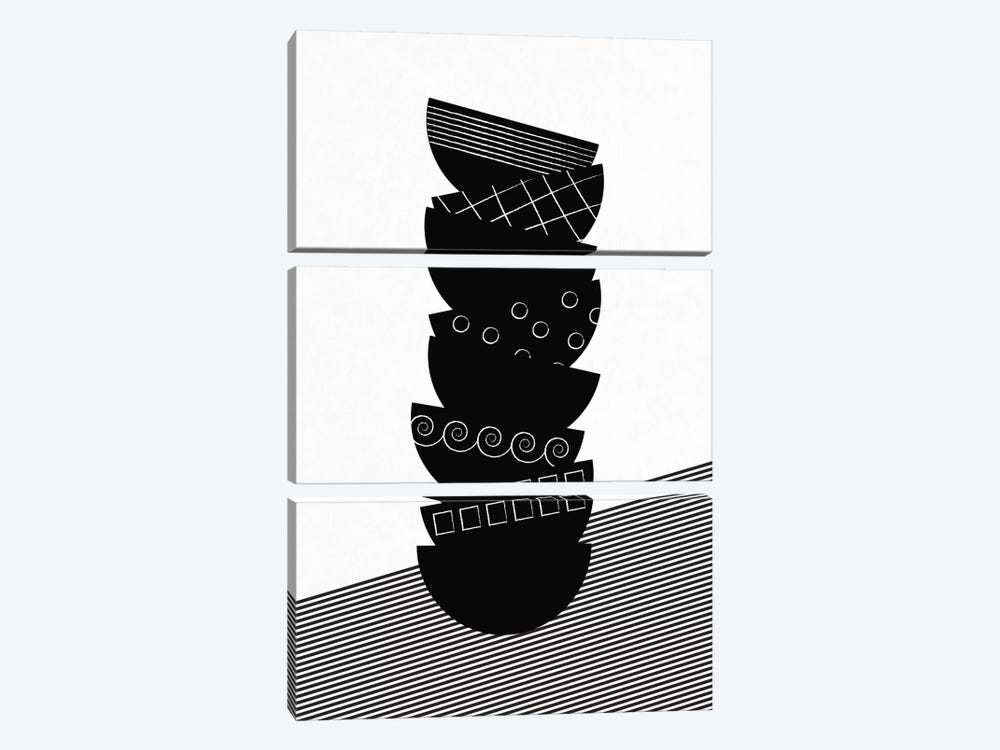 Bowls In Black & White by Flatowl 3-piece Canvas Artwork
