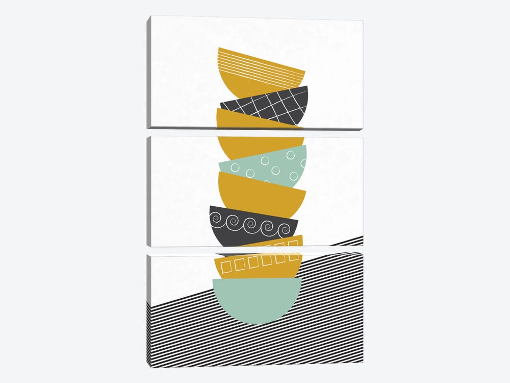 Bowls In Color by Flatowl 3-piece Canvas Print