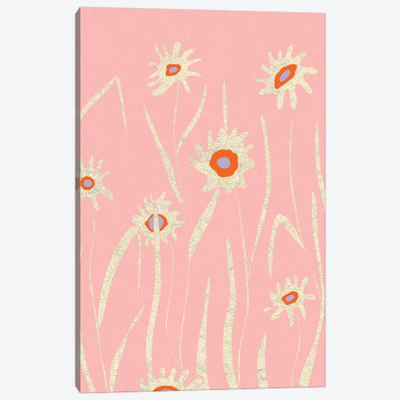 Pink Flower Field Canvas Print #OWL177} by Flatowl Canvas Print