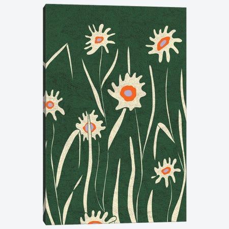 Green Flower Field Canvas Print #OWL178} by Flatowl Canvas Wall Art