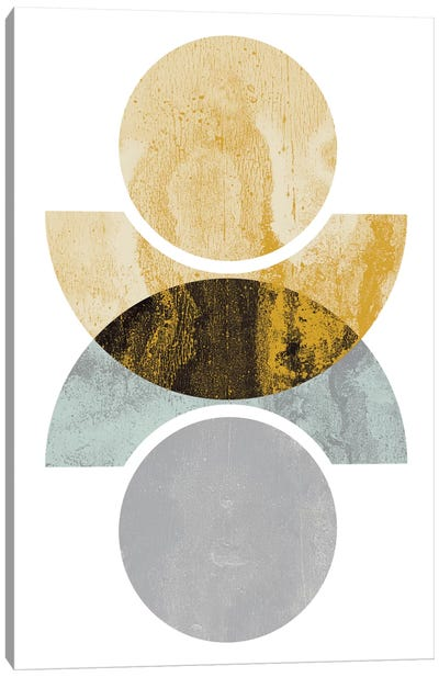 Circles Reflected (Yellow) Canvas Print #OWL22