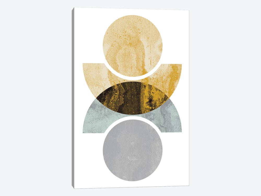 Circles Reflected (Yellow) by Flatowl 1-piece Canvas Art