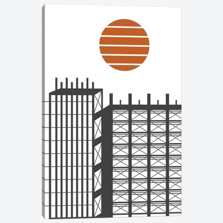 City In Construction Canvas Print #OWL25} by Flatowl Art Print