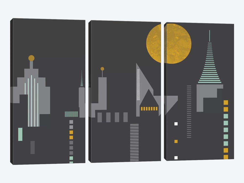 Cityscape by Flatowl 3-piece Canvas Art