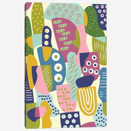 Colorful Shapes Canvas Print #OWL29} by Flatowl Canvas Wall Art