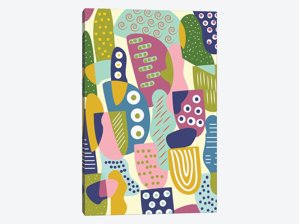 Colorful Shapes by Flatowl 1-piece Canvas Art Print