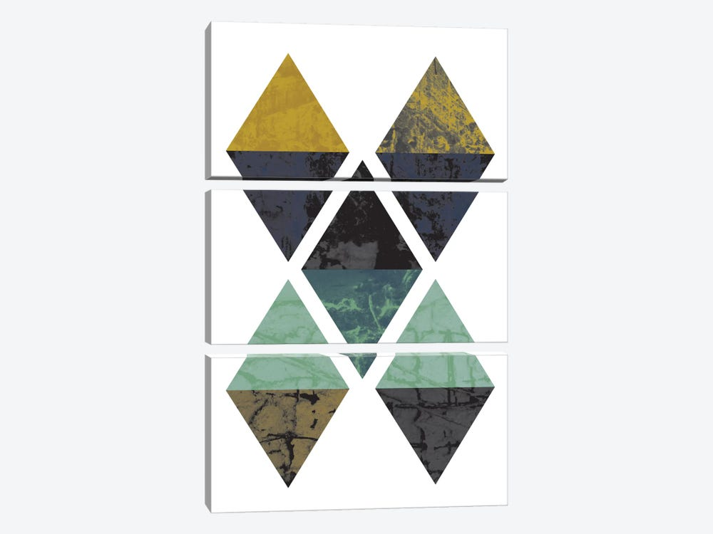 Diamonds Grunge by Flatowl 3-piece Canvas Print