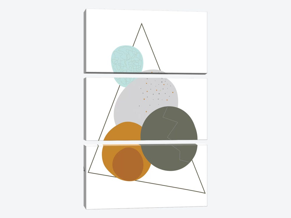 Eggs In A Triangle by Flatowl 3-piece Canvas Art Print