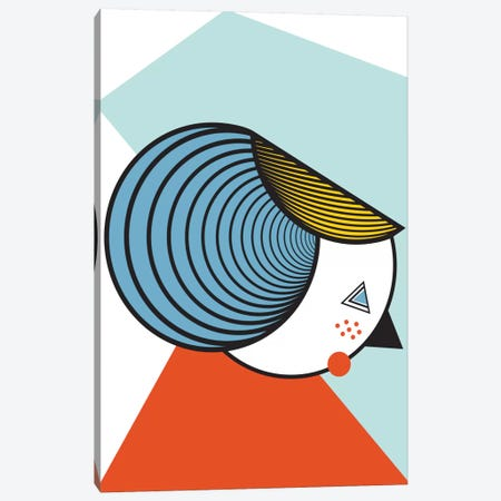Geometric Lady Canvas Print #OWL50} by Flatowl Art Print