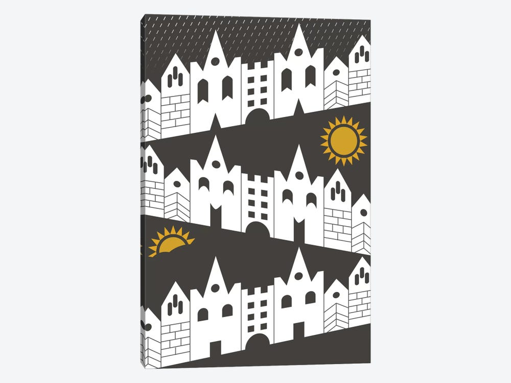 Happy Houses by Flatowl 1-piece Canvas Art Print