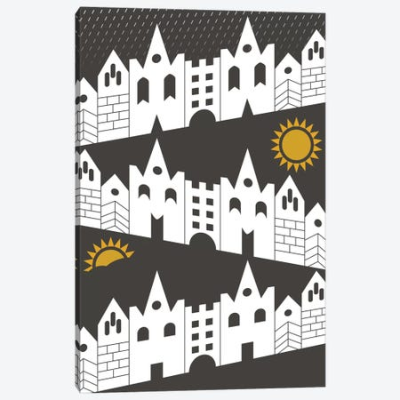 Happy Houses 3-Piece Canvas #OWL58} by Flatowl Art Print