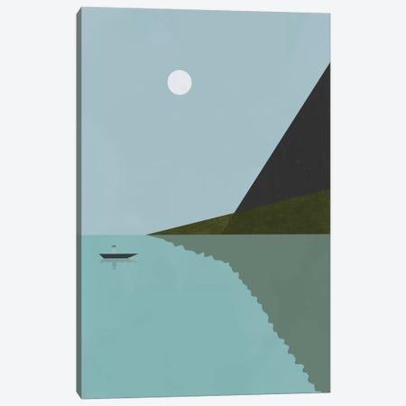Sailing At Night Canvas Print #OWL84} by Flatowl Art Print