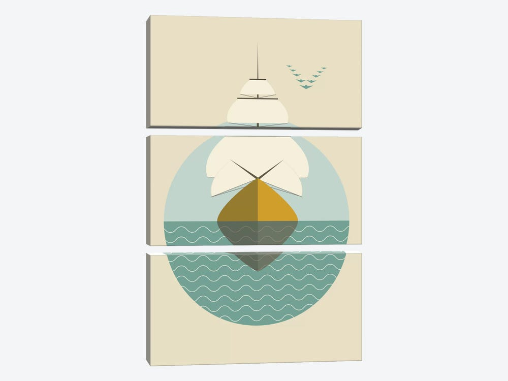 Ship by Flatowl 3-piece Canvas Artwork