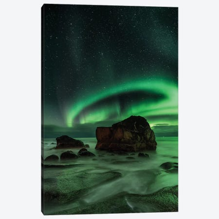 Aurora Borealis As Seen From Utakleiv Beach, Nordland, Norway Canvas Print #OXM1082} by Ajit Menon Canvas Artwork