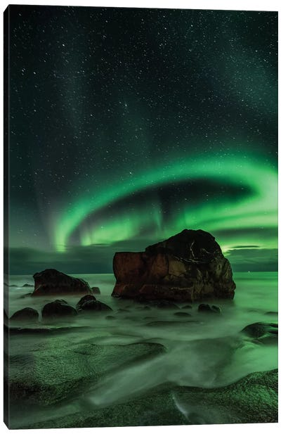 Aurora Borealis As Seen From Utakleiv Beach, Nordland, Norway Canvas Print #OXM1082