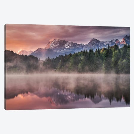 Sunrise At The Lake Canvas Print #OXM1146} by Andreas Wonisch Canvas Artwork