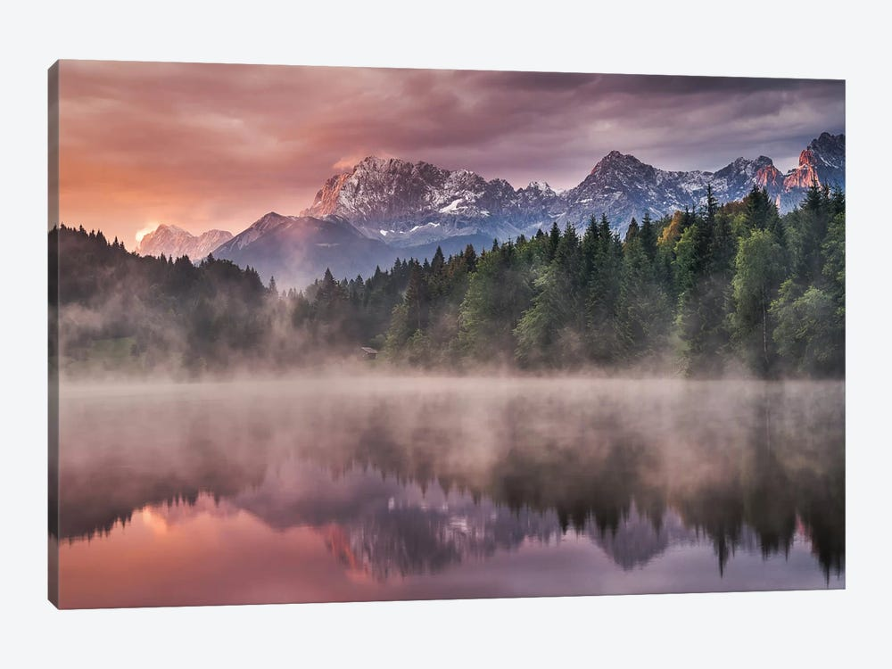 Sunrise At The Lake by Andreas Wonisch 1-piece Canvas Art
