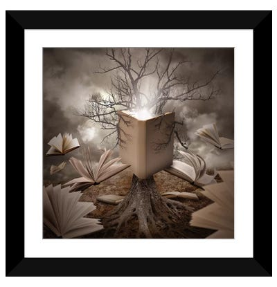 Old Tree Reading A Story Book Framed Art Print