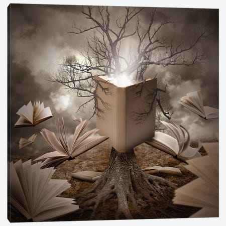 Old Tree Reading A Story Book Canvas Print #OXM1161} by Angela Waye Canvas Print
