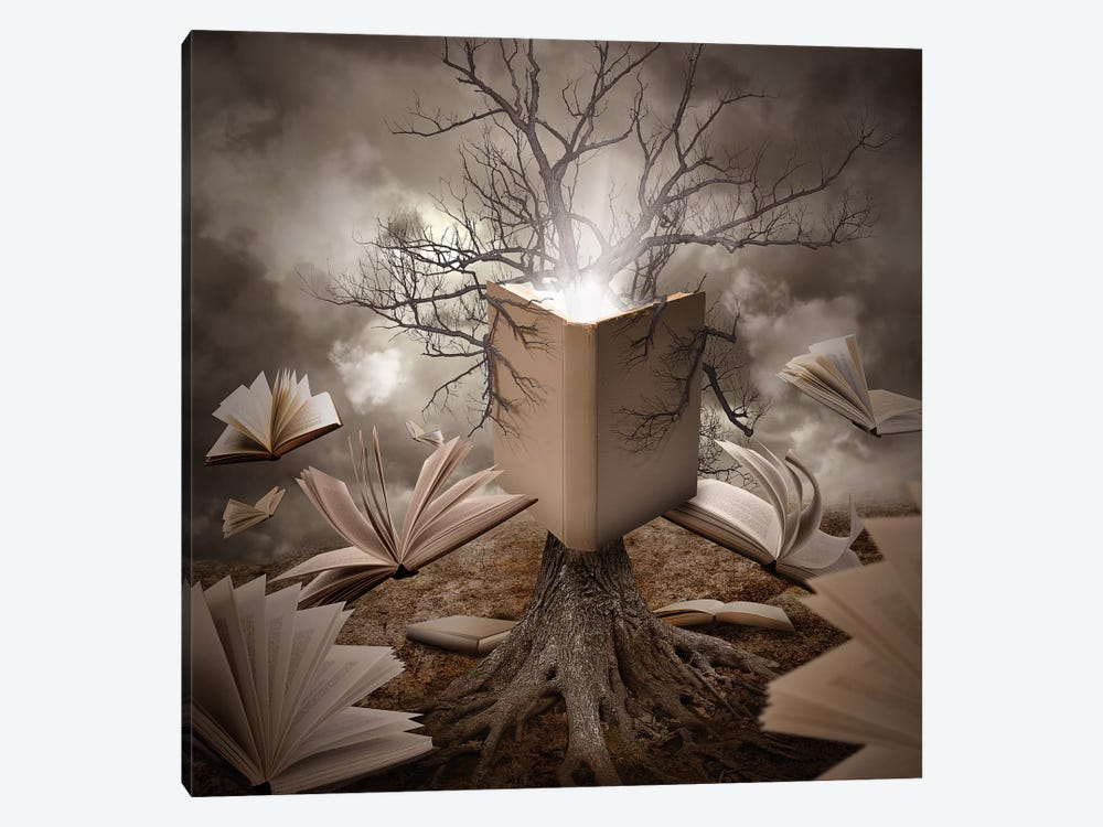 Old Tree Reading A Story Book by Angela Waye 1-piece Canvas Art Print