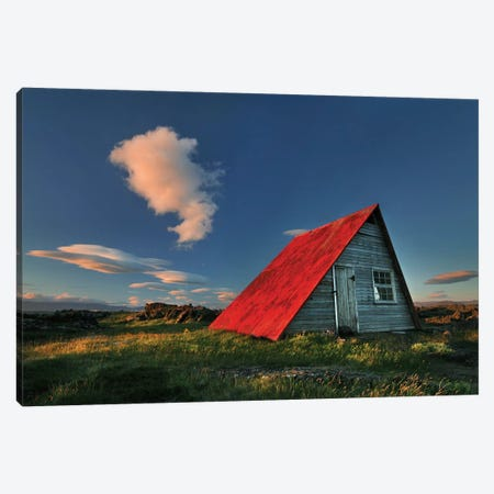 The Red Roof Canvas Print #OXM1246} by Bragi Ingibergsson Art Print