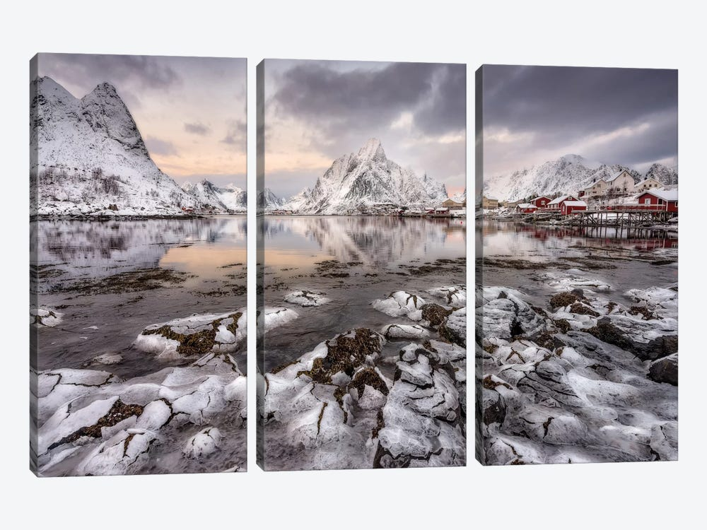 Ice Cracking 3-piece Canvas Art Print