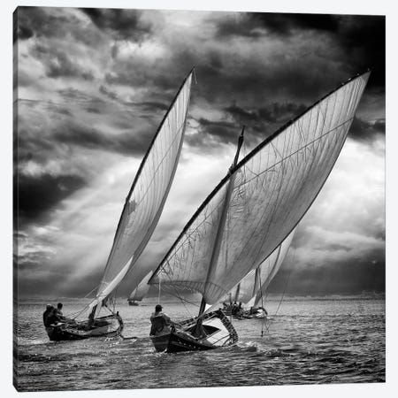 Sailboats And Light Canvas Print #OXM132} by Angel Villalba Canvas Wall Art