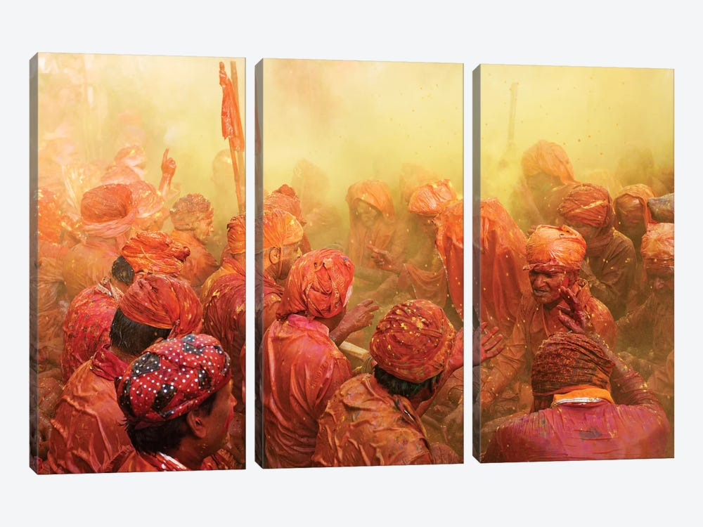 Lathmar Holi by Francesco Vaninetti 3-piece Canvas Art Print