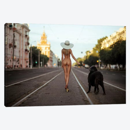 Lady With Her Dog Canvas Print #OXM1398} by Gene Oryx Canvas Wall Art